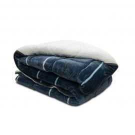 Cobija Flannel Borrego Estampada - Linea gruesa azul