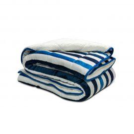 Cobija Flannel Borrego Estampada - Rayas azules
