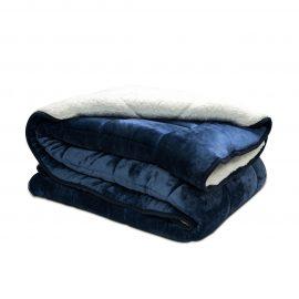 Cobija Flannel Borrego Unicolor - Azul Oscuro