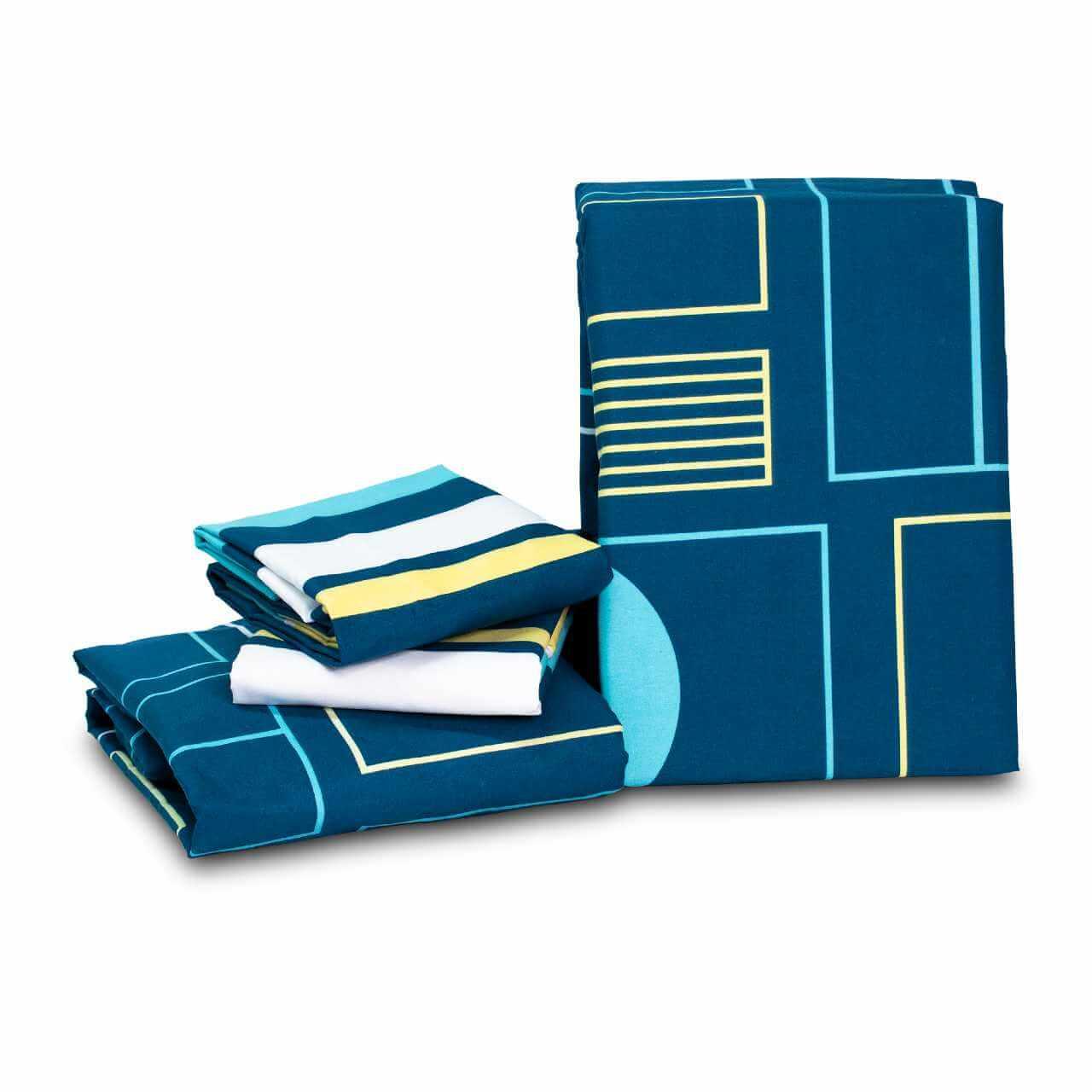 Juego de Sábanas Casa Real Tex - Geometrico Azules